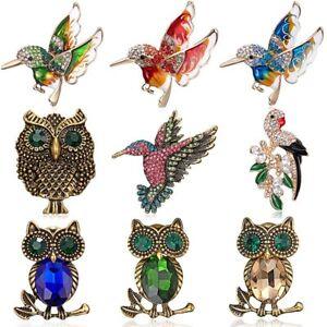 Fashion Animal Bird Owl Crystal Enamel Brooch Pin Women Costume Wedding Jewelry
