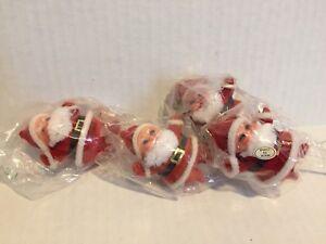 Vintage-Miniature-Flocked-Santa-Claus-Christmas-Craft-Picks-Ornaments-Set-of-4