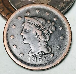 1852-Large-Cent-Matron-Braided-Hair-1C-Higher-Grade-Good-Date-US-Coin-CC4640