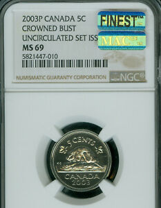 2003-P-CROWN-BUST-CANADA-5-CENTS-NGC-MS-69-PQ-MAC-FINEST-GRADE-MAC-SPOTLESS