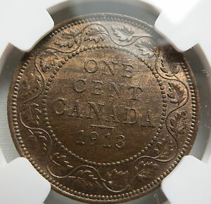 CANADA 1 cent 1913 NGC MS 63 BN UNC