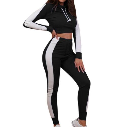 New Women Sports Tracksuit Hoodies Sweatshirt Yoga Gym Tops+Pants Sports Suit DS