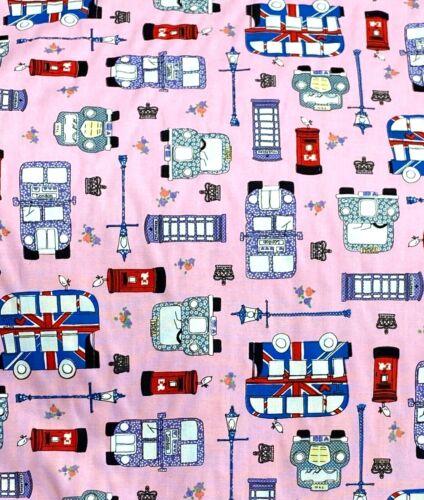 100/% Algodón Popelín tela London Buses corona cabina telefónica Reino Unido Bandera En Rosa