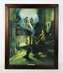 Antique-Art-Nouveau-Lithograph-Print-of-Man-Smoking-a-Cigarette-L-Goddard