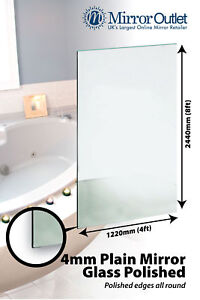 Large 4mm Thick Bathroom Mirror Glass Sheet With Polished Edges 8ft