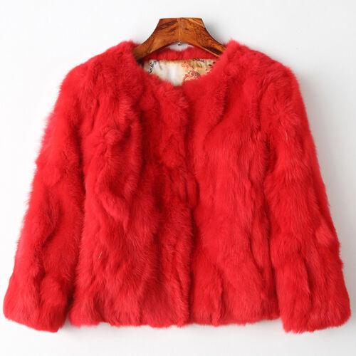 NEUE Frauen Echt Kaninchenfell Kurzmantel Jacke Outwear Wearcoat Kleidungsstück