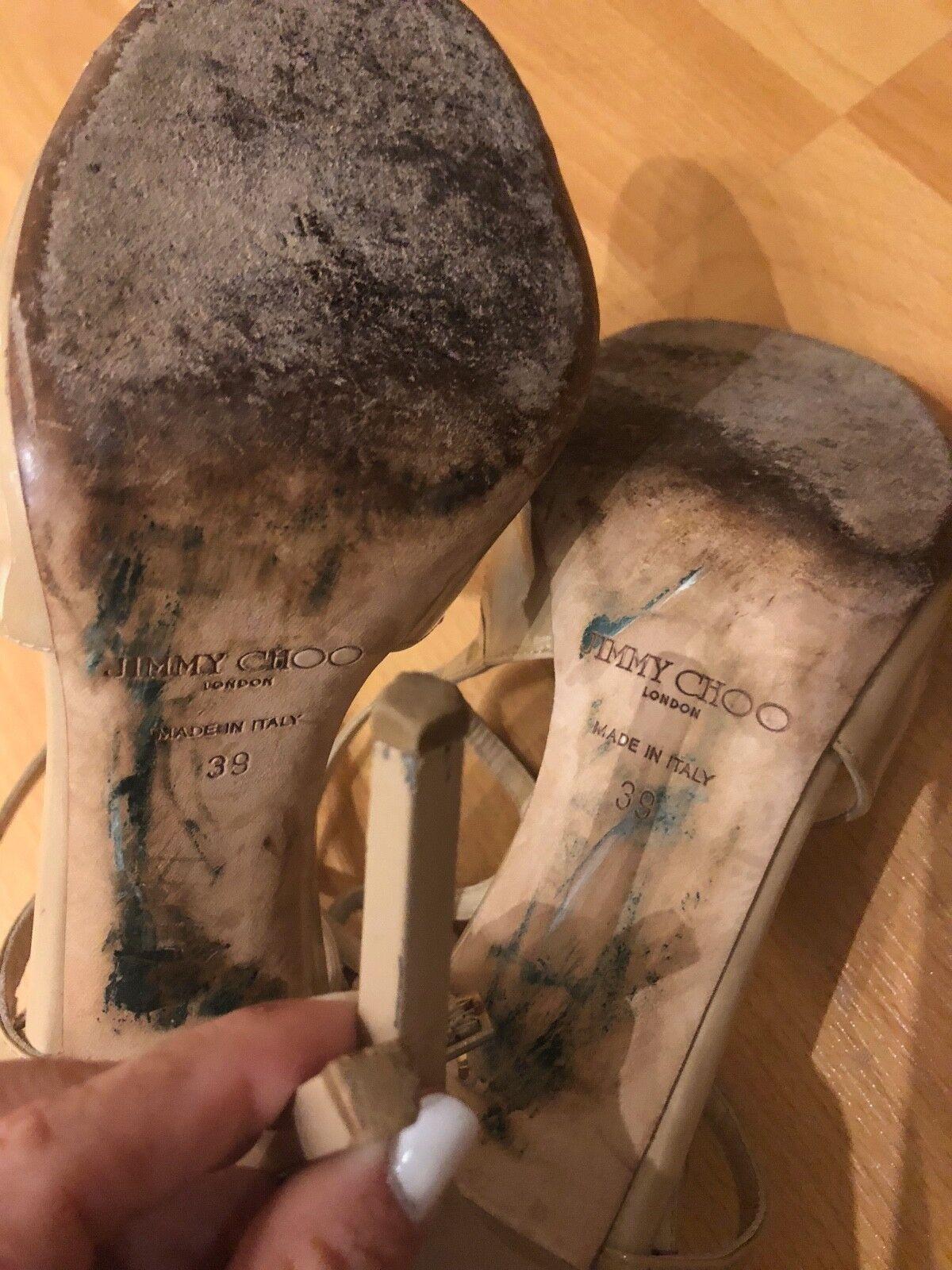 JIMMY CHOO Lang Nude Beige Patent Leather Strappy Cross Heels Heels Heels Größe 39 SHARWEI e69c66