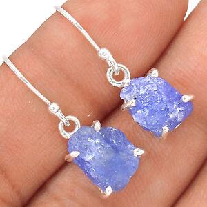 Tanzanite-Rough-Crystal-925-Sterling-Silver-Earrings-Jewellery