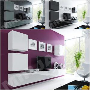 Wohnwand besta xxii hochglanz modern kollektion h ngem bel wohnzimmer neu ebay - Besta wohnwand ...
