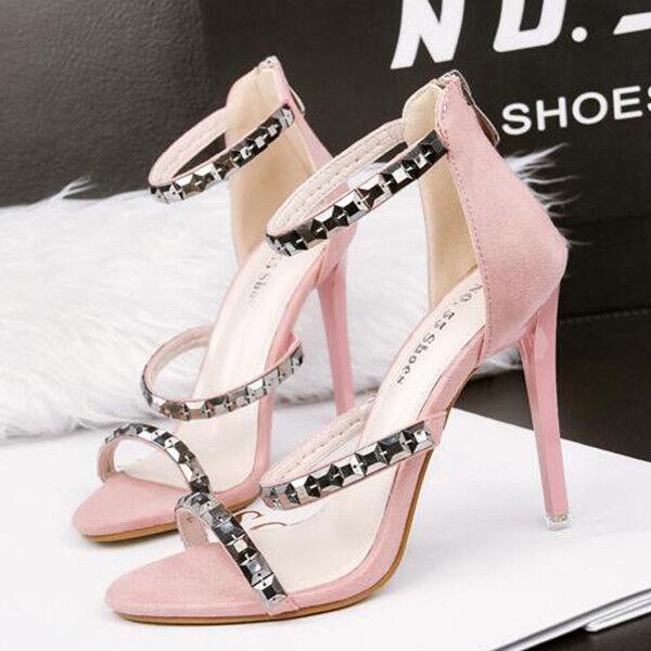 Sandalei eleganti tacco tacco tacco stiletto 11 cm rosa simil pelle eleganti 9837 d607d7