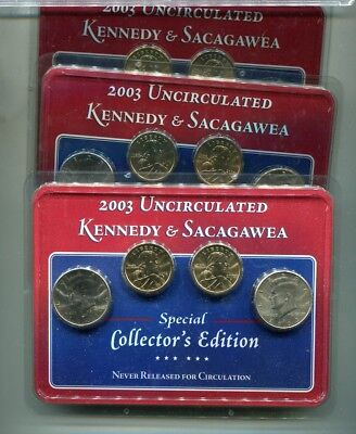 UNC /& Proof 2003 P-D-S  Sacagawea Dollar 3-coin Set