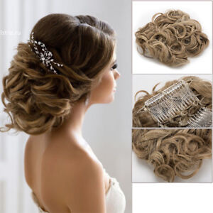 LARGE Comb Clip In Curly Hair Piece Chignon Updo Wedding Hairpiece ...