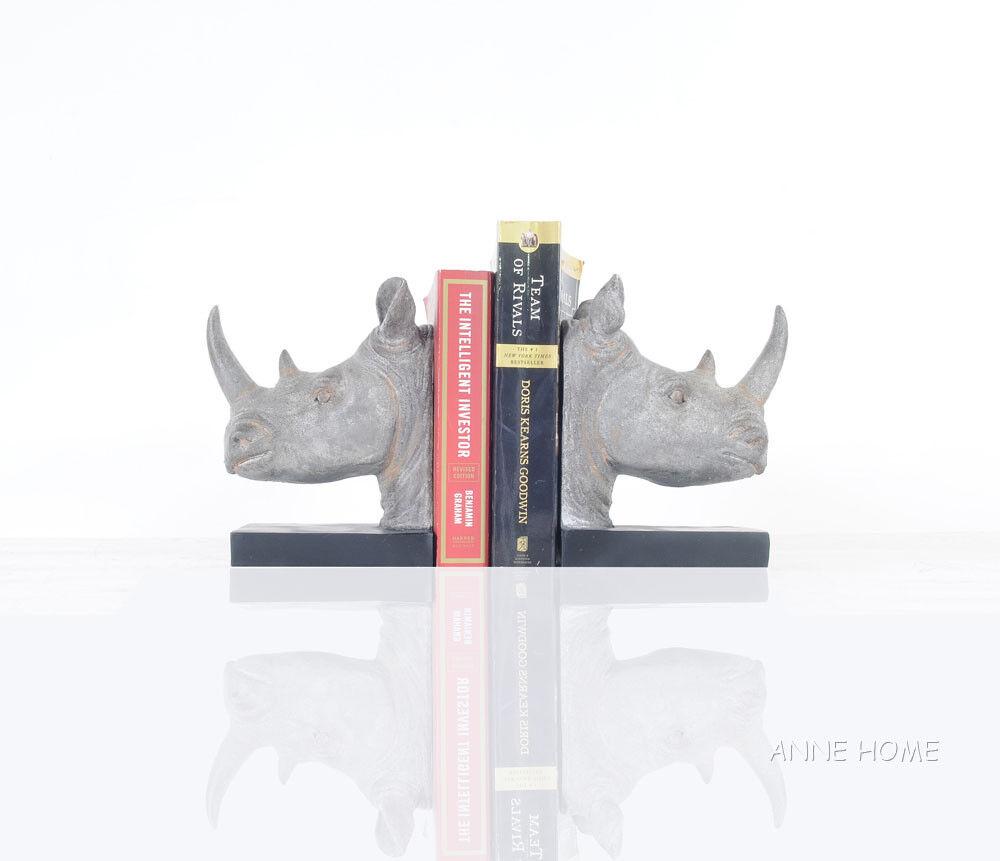 Rhinoceros Head Bookends Figurine Sculpture Statue 8  African Safari Home Decor