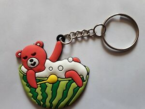 Panda-Watermelon-Key-ring-Rubber-Bear-and-Watermelon-Key-chain-Keyring-Gift-UK