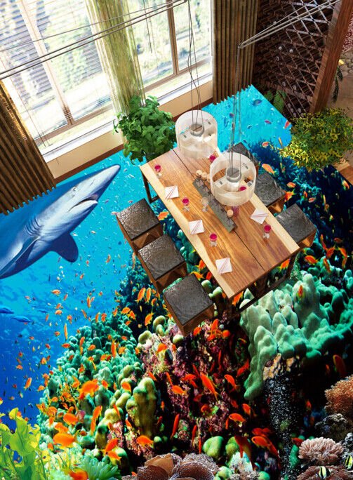 3D Shark Small Fish 6 Floor WallPaper Murals Wall Print 5D AJ WALLPAPER UK Lemon