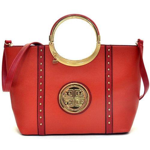 Dasein Studded Zip Accent Emblem Satchel Purse with Shoulder Handbag Tablet Bag