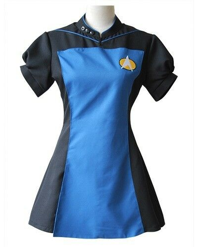 Star Trek TNG Skant Black Blue Lady Uniform Girl Party Halloween Cosplay Costume