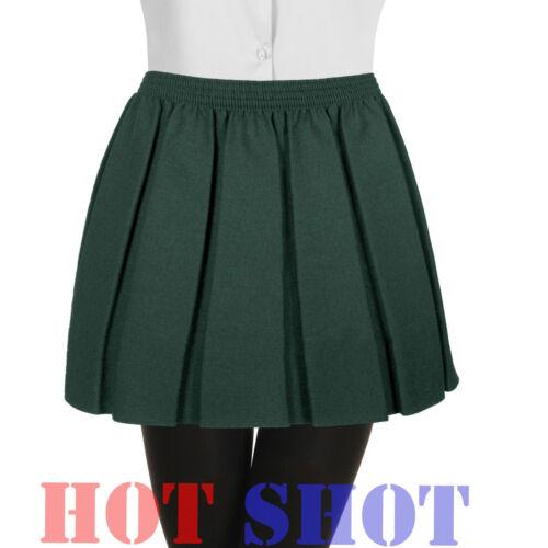 Girls Kids Childrens Pleated School Uniform Full Elasticated Waist Skirt
