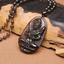 "Natural ice kinds of obsidian pendant ""Akasagarbha"" Buddha patron saint"
