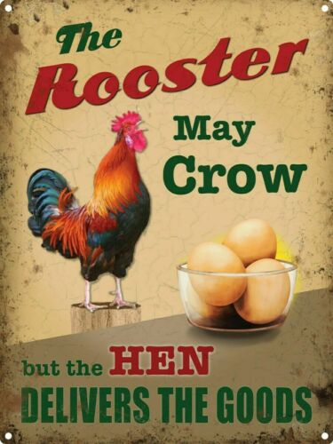 The Rooster May Crow design metal sign 30cm x 40cm
