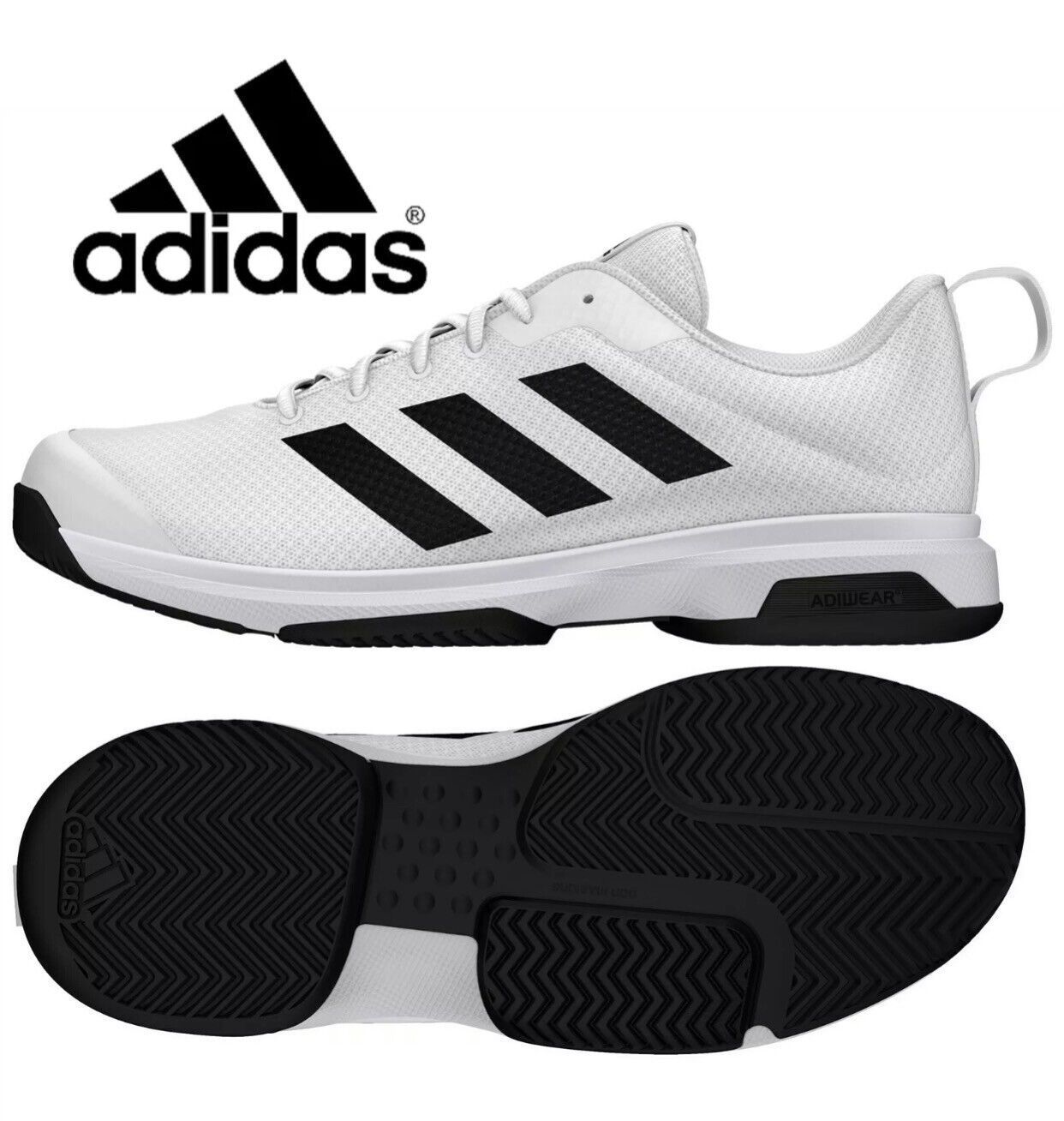 NEW Adidas Mens Running Shoes Men's Athletic Sneaker White / Black Size 11