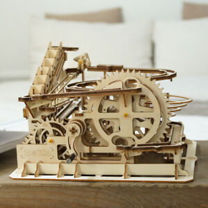 Details about ROKR DIY Waterwheel Coaster Wooden Model Building Kits Wood  Marble Run Game Toy