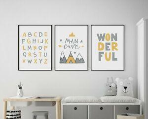 Set of 3 Man Cave ABC Alphabet Mint /& Black Prints Nursery Boys Room Wall Art