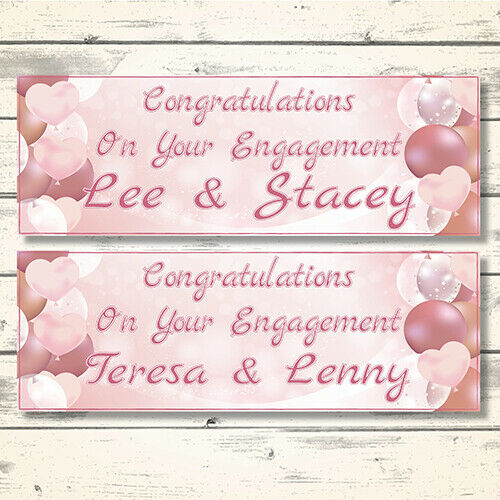 2 PERSONALISED ROSE GOLD ENGAGEMENT BANNERS ANY NAMES DESIGN 3 PINK HEARTS