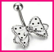 PIERCING NOMBRIL NOEUD PAPILLON BOWKNOT BELLY NAVEL RING DANGLE ENAMEL 316L
