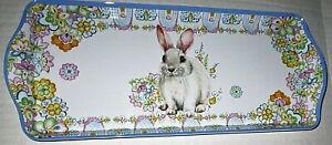 """EASTER Melamine Serving Tray 15"""" x 7""""  BUNNY RABBIT W/ SPRING FLOWERS"""