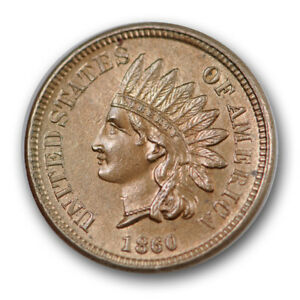 1860-1C-Pointed-Bust-Indian-Cent-Uncirculated-Mint-State-MS-Sharp-R1137