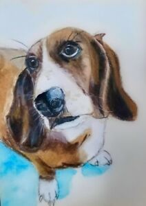 ACEO - Basset Hound - Original Painting - ATC