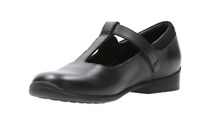 Jamie niñas Sky Clarks Zapatillas para Bar T Leather escolares Black gzwqwxPY