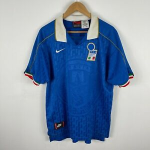 VINTAGE Italian Football Soccer Jersey Nike 1996 Mens Large Short Sleeve Retro