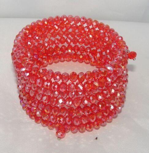 Bracciale largo spirale Alla Schiava donna,Braccialetto da polso,cristalli rosso