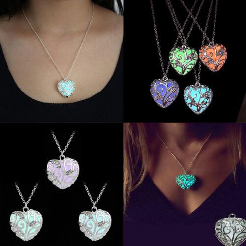 Charm Necklace Heart Pendant Glow In The Dark Luminous Women Jewelry Gift