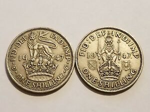 English /& Scottish Crest 2 Coins 1 Shilling George VI 1947 England