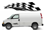 CHEQUERED-FLAG-SIDE-STRIPE-X2-Car-Van-caravan-boat-Sticker-decal-Large-24-034-x6-034 thumbnail 1