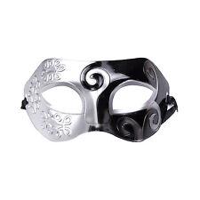 Mens Roman Warrior Two Tone Masquerade Ball Prom Halloween Mask. Black / Silver