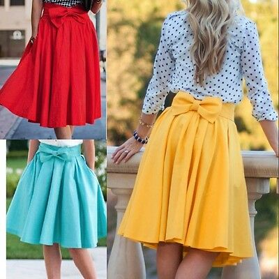 Womens Retro High Waisted Skater Pleated A-Line Skirt Ladies Midi Bow Dresses