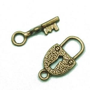 12-x-Antique-Bronze-Zinc-Alloy-Lock-amp-Key-Toggle-Set-Clasps-11-x-21mm-Y09715