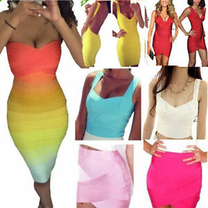 Top-quality-rayon-bandage-bodycon-formal-women-party-prom-club-dress-top-skirt