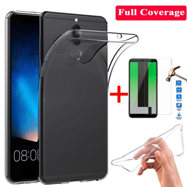 For Huawei Mate10 Lite/Nova2i P9 Case Clear Silicone TPU Cover+Temper Glass Film