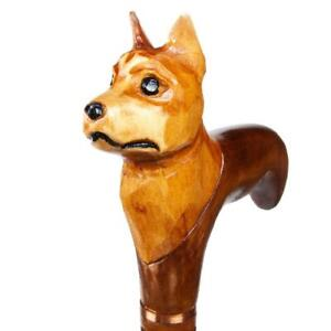 Chihuahua-Dog-Carved-Wooden-Head-Support-Handmade-Walking-Hand-Stick-Handle-Cane