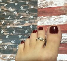 """Handcrafted"" Stretch Toe Ring W/Swarovski Element White Pearl USA"