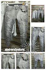 2017 Vintage Lexxury Skinny 7/8 Jeans Hose Used Stonewashed Strass M 38 Grau