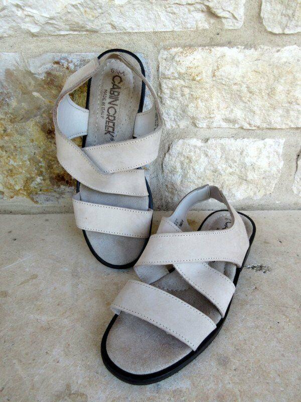 Cabin Creek Femmes Crème Daim Slip-on Cuir Sandales Chaussures Taille 6 1/2 M