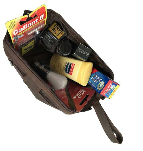 Genuine Leather Travel Toiletry Bag Travel Dopp Kit