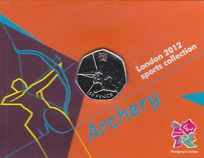 London 2012 Royal Mint Olympic FOOTBALL 50p coin new ON CARD uncirculated