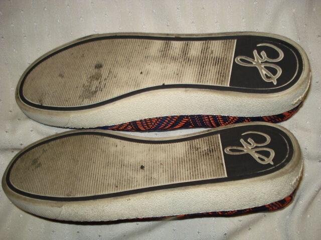 Sam Edelman Womens Blue Shoes Low Sneakers Navy Blue Womens & Orange Fabric Chevron  Size 9M ca99a1